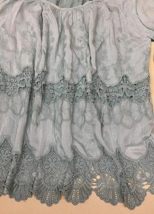 Шёлковая блуза с ришелье3 фото