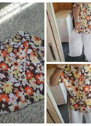 Стильная комфортная лёгкая блузка  в цветочный принт/катон, р. 14-18