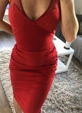 Красное миди платье  кружево сетка
