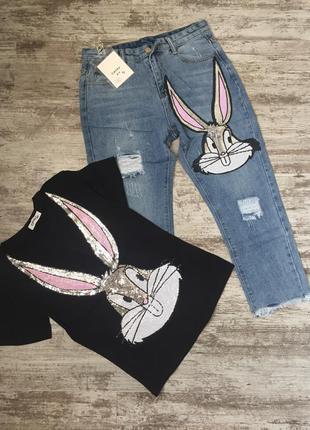 Комплект футболка+джинсы. костюм