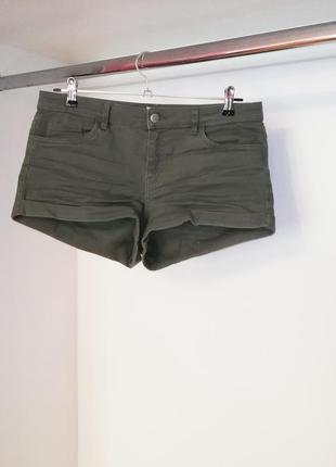 H&m джинсовые короткие шортики хаки оливковые