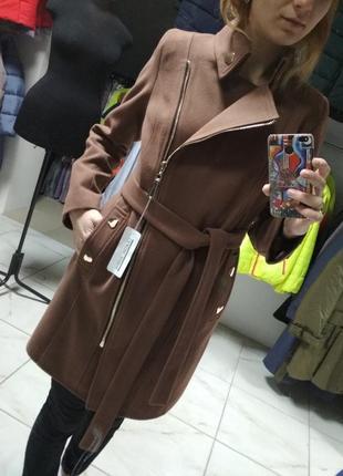 Кашемірове пальто-шинель приталене, капучіно