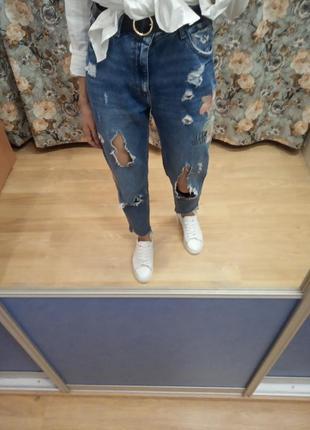 Рваные джинсы  высокой посадкой талией мом, mom, бойфренд от zara оригинал размер xs, s
