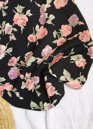 Шифоновый чёрный топ в цветочный принт от new look