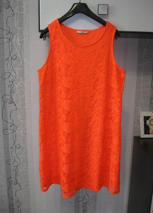 Яркое летнее платье кружевное трапеция а-силуэт парео пляжная туника 16-18