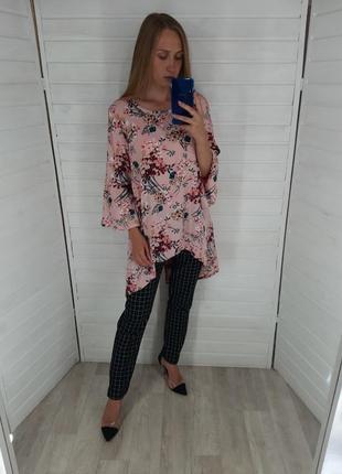 Розовая блуза/таника в цветочный принт beyou