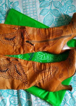Сапоги кожа осень каблук вышивка