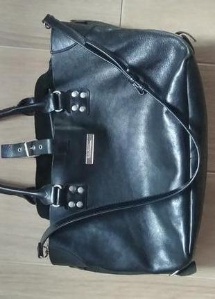 Кожаная вместительная сумка шоппер zara