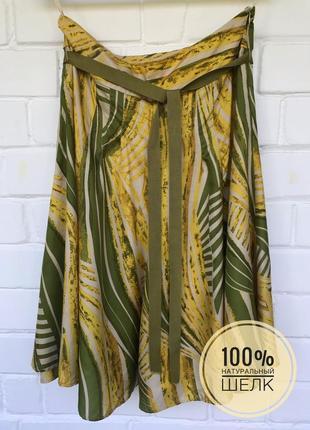 Легкая струящаяся шолковая миди юбка клеш monsoon размер xl/12/40.