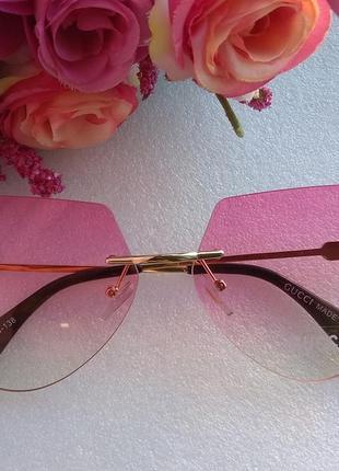 Новые стильные очки с пчелами (с царапиной на стекле) розовые