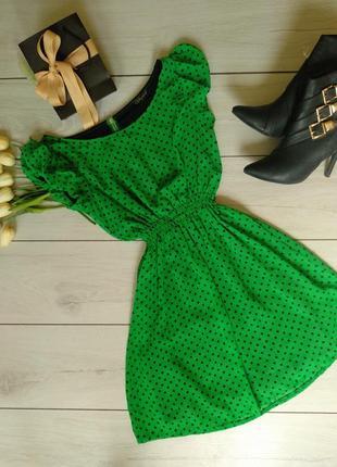 Зелёный сарафан в горошек