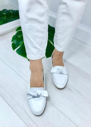 Балетки, слипоны, туфли белые на низком каблуке натуральная кожа