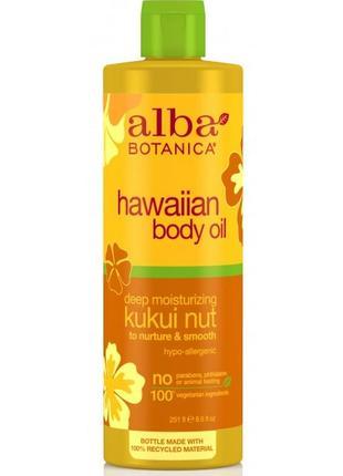 Глубоко увлажняющее массажное масло для тело «гавайское – орех кукуи» alba botanica (сша)