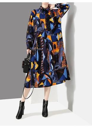Роскошное дизайнерское платье с невероятным принтом2 фото