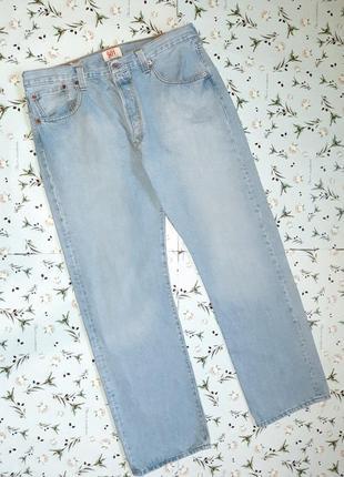 Акция 1+1=3  крутые плотные прямые джинсы levis 501 оригинал с подворотом, размер 50 - 52