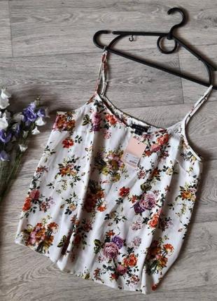 Красивая нежная шифоновая майка в цветочный принт