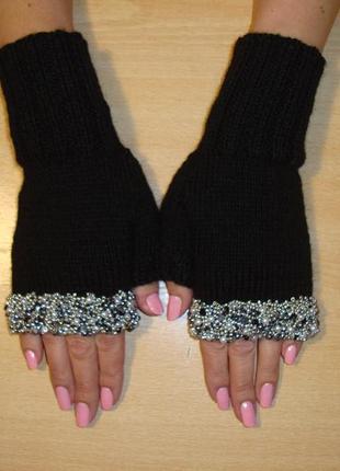 Митенки перчатки без пальцев со стразами женские - felicita