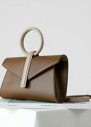 Сумка кожаная клатч конверт на пояс беж коричневая стильная кроссбоди кросс боди италия
