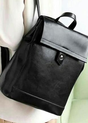 Рюкзак сумка женский кожаный черный классический стильный городской вместительный