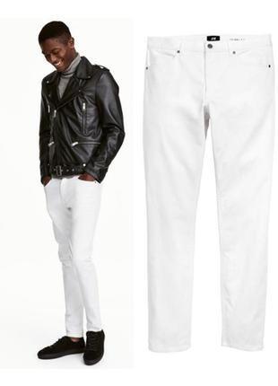 Новые белые мужские зауженные джинсы скинни/штаны/брюки