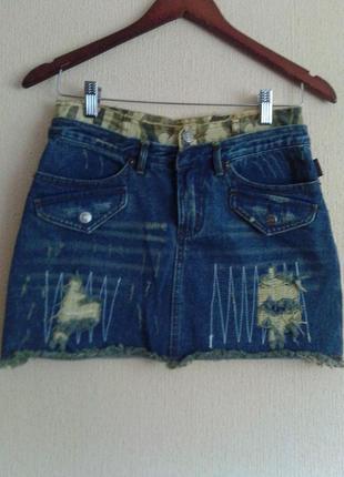 Шикарная фирменная джинсовая короткая мини юбка в стиле милитари-casual от coolcat girls