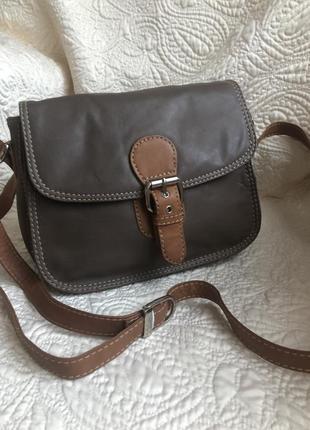 Практичная кожаная сумка, натуральная кожа, кросс боди через плечо