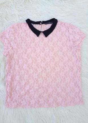 Красивая пудровая,кружевная блузка с воротничком раз.xl