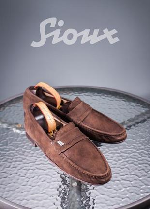 Лоферы sioux, германия 45р мужские мокасины кожаные туфли замша
