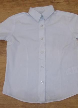 Блузка рубашка белая с коротким рукавом на 5-6 лет рост 110-116 см