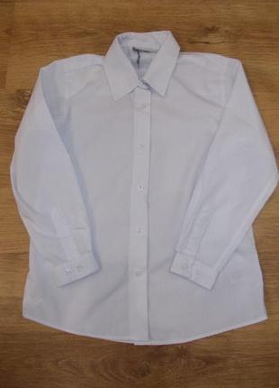 Блузка рубашка белая с длинным рукавом на 7-8 лет рост 122-128 см