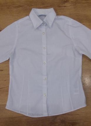 Блузка рубашка белая на 8-9 лет рост 128-134 см