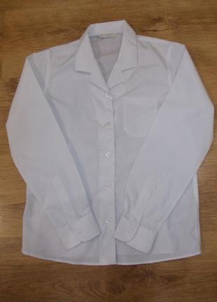 Блузка рубашка белая с длинным рукавом на 9-10 лет рост 134-140 см