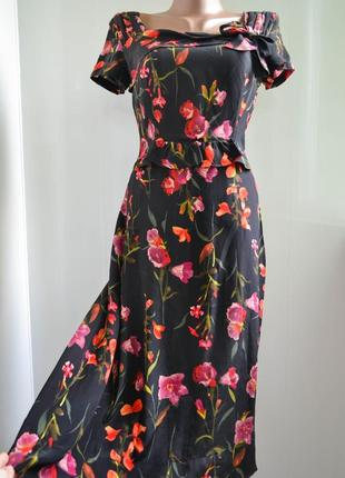 Шелковое цветочное платье mango