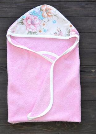 Полотенце уголок после купания plamka цветы (розовое)