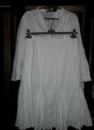 Шикарный стильный костюм юбка и блуза пиджак. 100%хлопок. papaya 22рр.