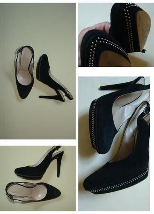 Черные нарядные замшевые босоножки / туфли с открытой пяткой eden 24,5 см