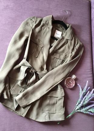 Актуальный вискозныйудлиненный пиджак хаки parkbravo ( с нюансом )