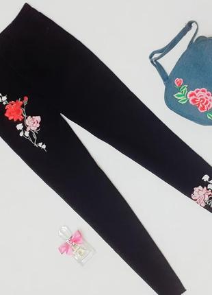 Шикарные джинсы момы,высокая посадка с вышивкой+подарок s/m