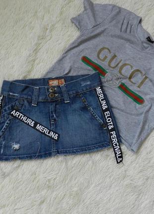 ✅мега крутая джинсовая юбка рванка с лампасами и надписями bershka