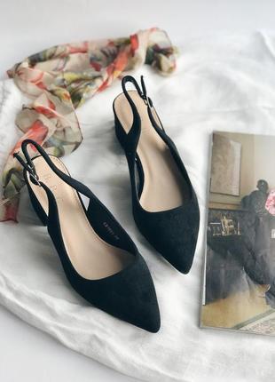 Чёрные мюли, босоножки на устойчивом каблуке