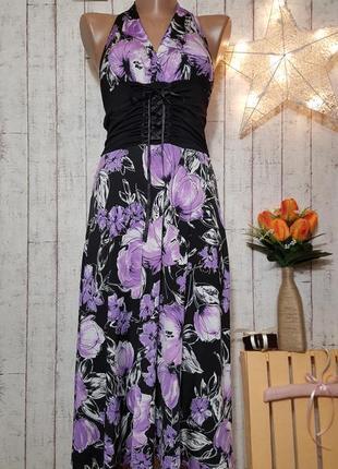 Платье сарафан миди со шнуровкой в виде корсета спереди приятной расцветки с цветами р. м