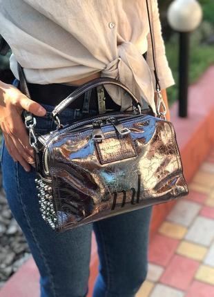 Женская кожаная сумка polina & eiterou чёрная бронзовая жіноча шкіряна серебро