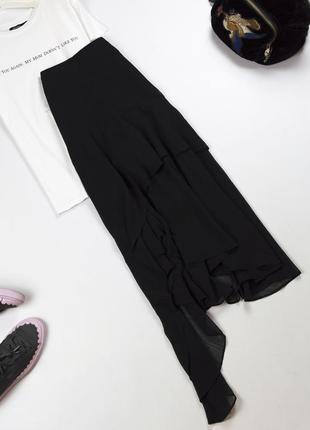 Стильная асимметричная черная юбка миди с высокой посадкой с подтяжками stradivarius xs s