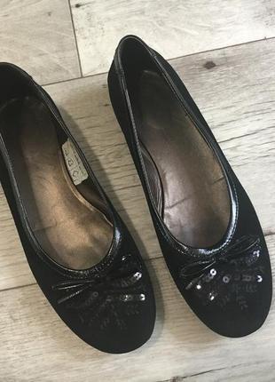 Туфли балетки женские италия 24.5см натуральная замша кожа