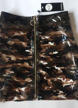 Виниловая милитари прозрачная мини юбка на замке