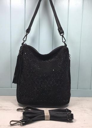 Женская замшевая сумка polina eiterou черная с камнями жіноча шкіряна сумка чорна