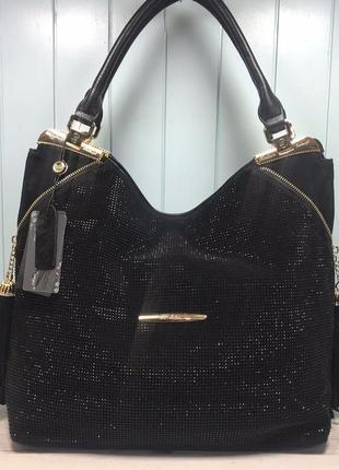 Женская замшевая сумка с камнями черная большая жіноча замшева чорна