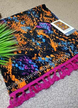 Пляжное полотенце змеиный принт с бахрамой primark испания в подарочной уп!