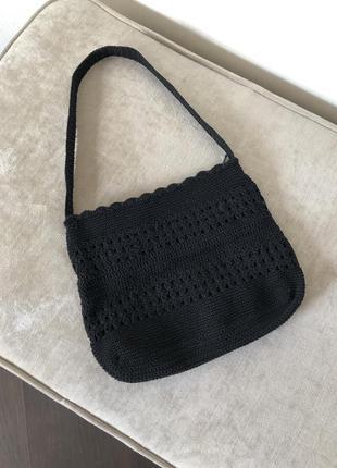 Вязаная плетёная сумка