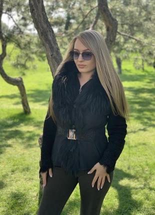 Куртка дубленка зимняя воротник мех енот и токсана!!!